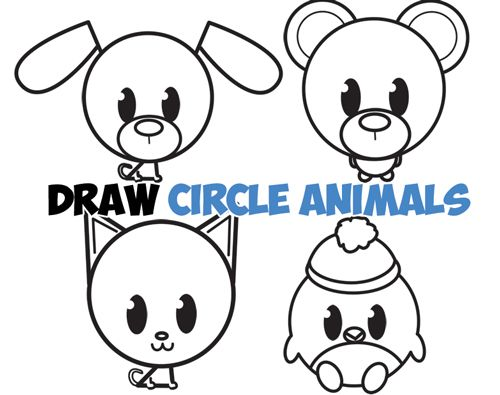 Big Guide To Drawing Cute Circle Animals Easy Step By Step Drawing Tutorial For Kids How To Draw Step By Step Drawing Tutorials Cute Easy Animal Drawings Cartoon Drawings Of