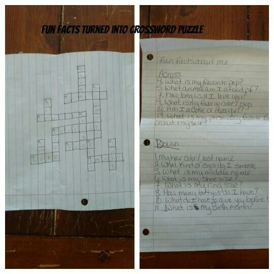 Fun Facts About Me Turned Into A Crossword Letters To Boyfriend