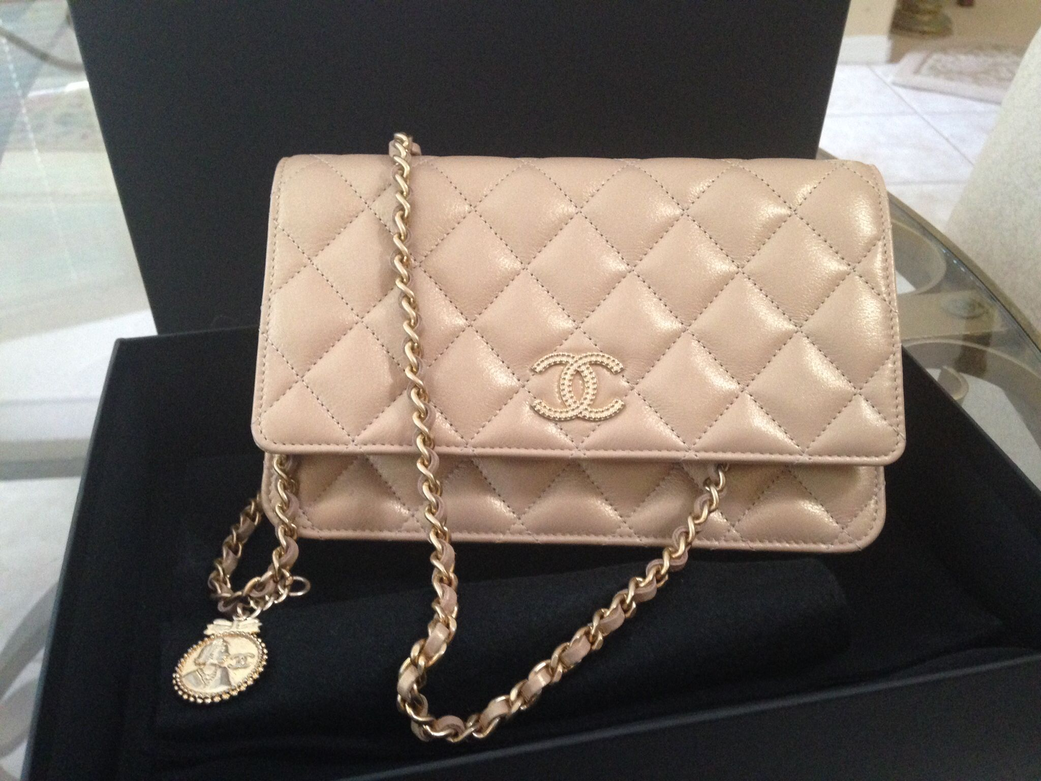 Chanel Pearly Beige Champagne WOC with Coco Chanel Medallion ... c712116850570
