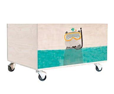 Cajón de madera de pino con ruedas Hippo   pallet inspiración ...