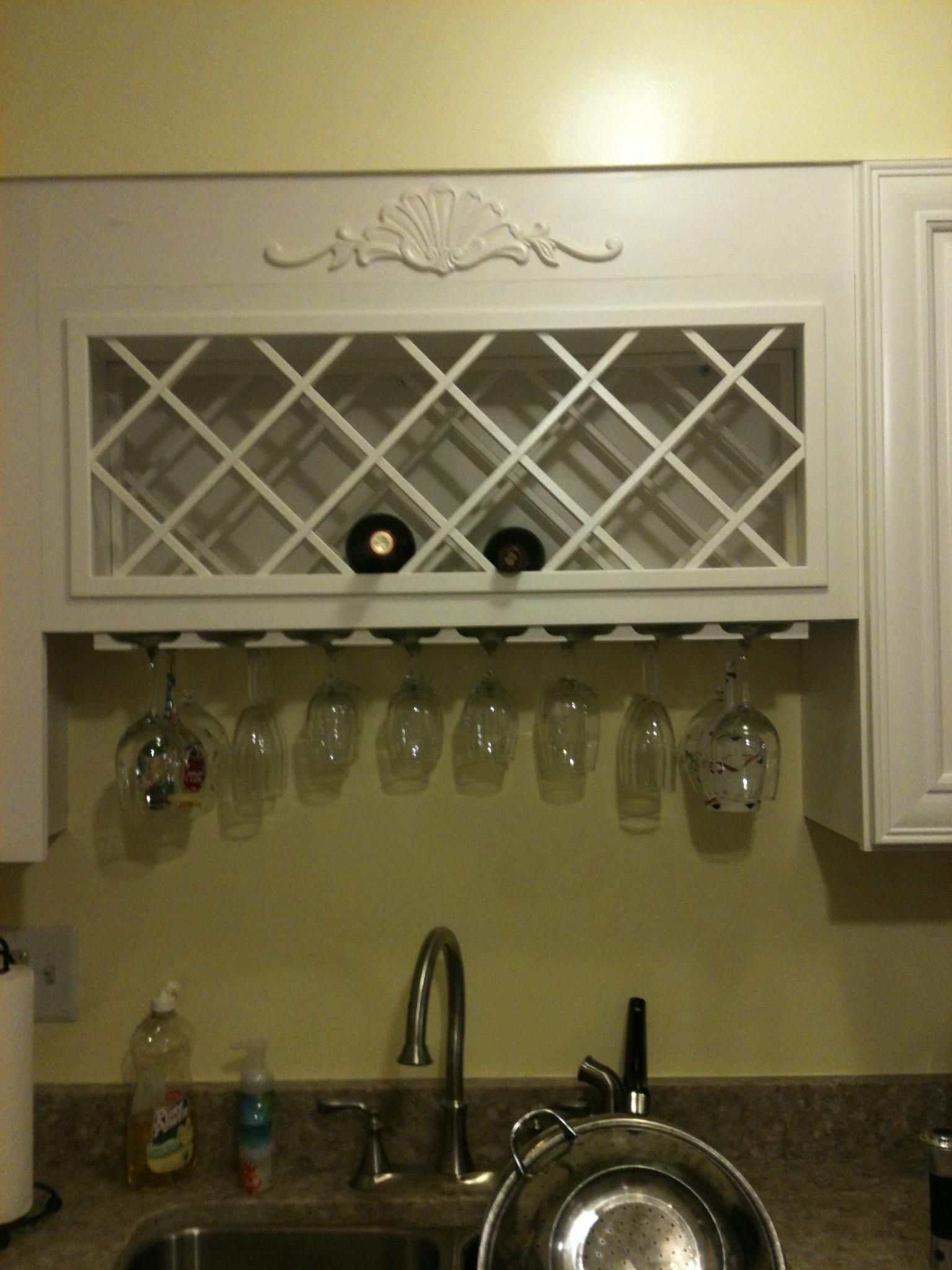 Wine Rack Over The Sink I Need This Wine Rack Kitchen Cabinet Wine Rack Wine Rack Cabinet