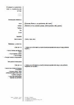 Curriculum Europeo Da Compilare Word Programma Scolastico Curriculum Vitae Modello Curriculum