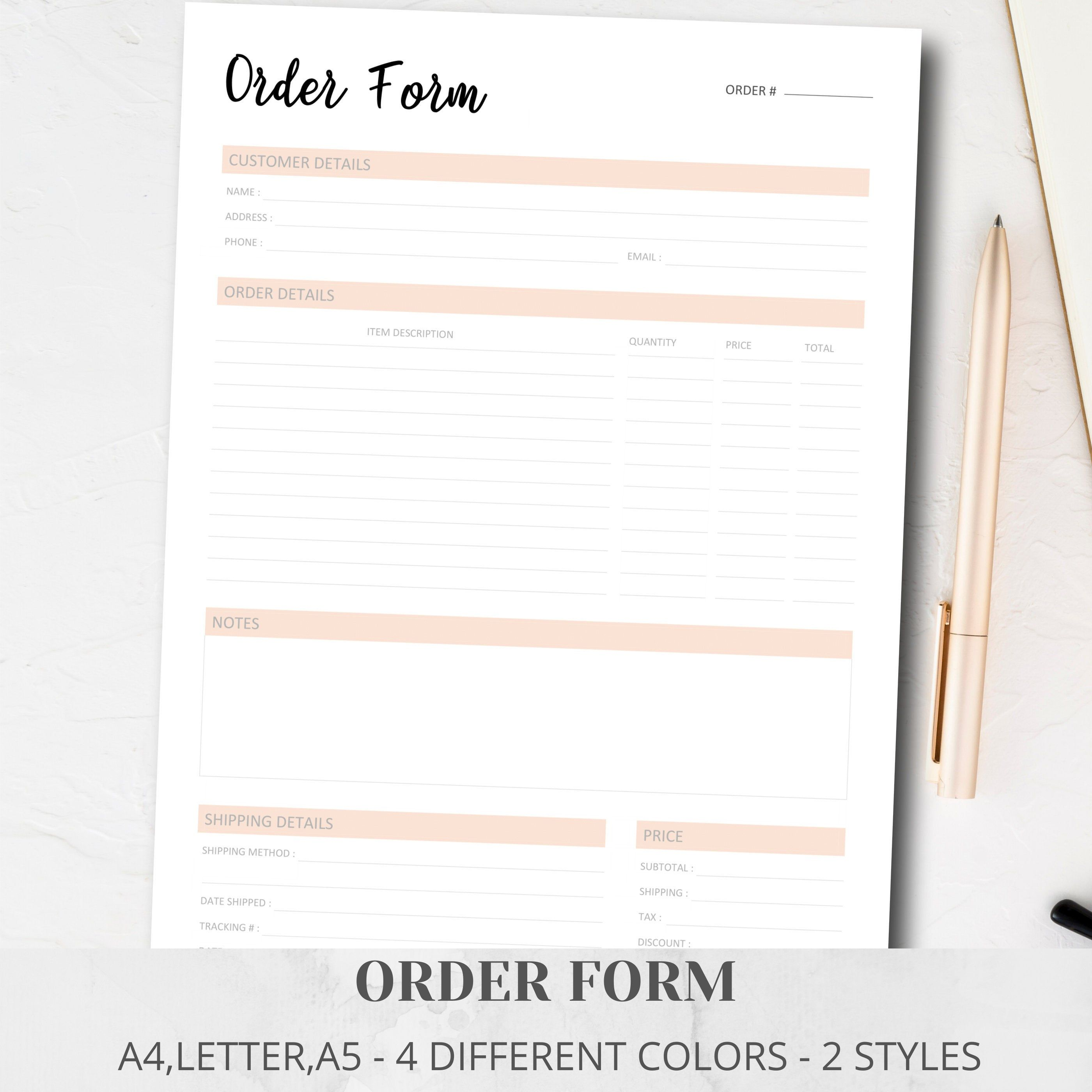 Pin On Business Order Form