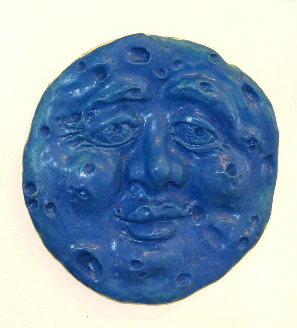 Blue moon ceramic mask clay wall sculpture full moon face celestial