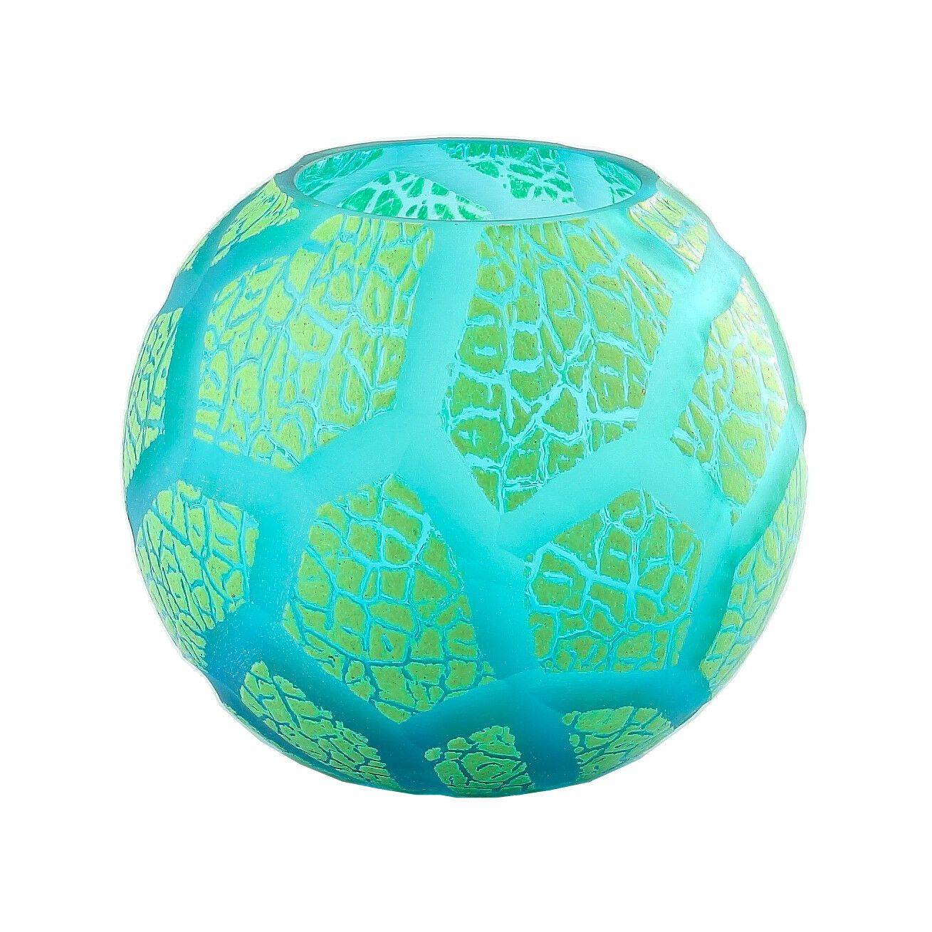 """New 6/"""" Hand Blown Glass Art Bubble Vase Bowl Green Patterned Decorative"""
