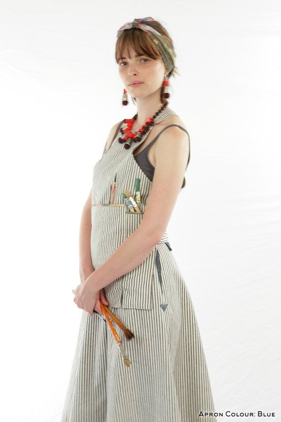 c52f31ed79 Artist Apron Striped  Eco-Friendly Natural by DerelictWorkwear Work Fun