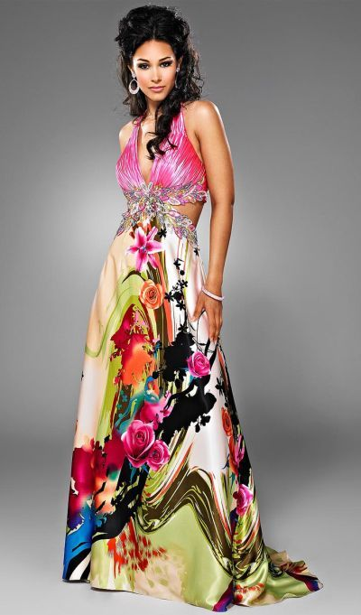 flower print prom dresses