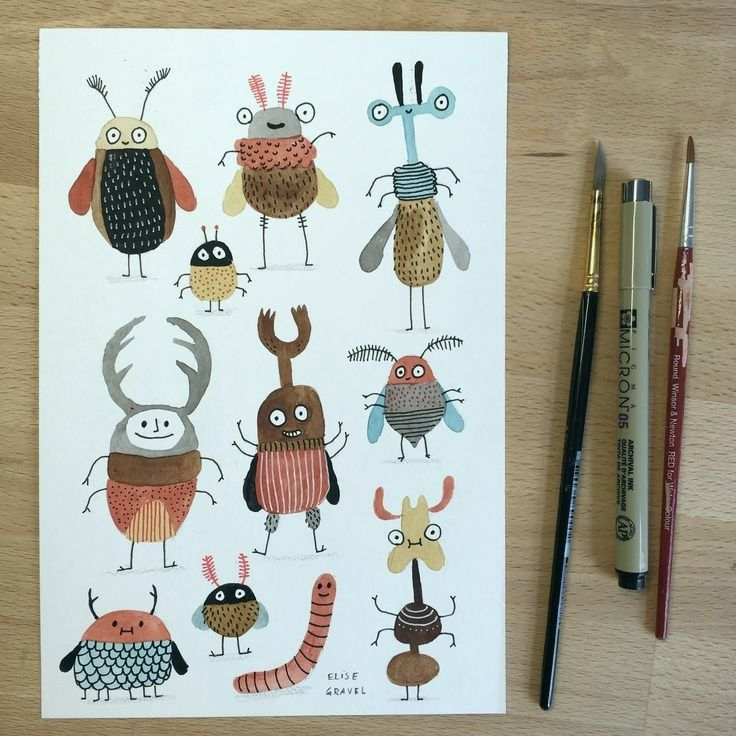 Tolle Bugs, aquarelle, coléoptères, personnages, illustration, mignon, créatures, dessin #insects