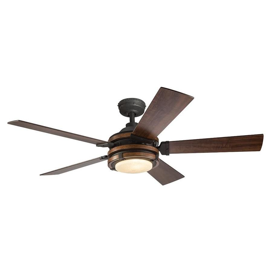 Kichler Barrington 52 In Distressed Black And Wood Led Ceiling Fan With Light Remote Control With Light Kit 5 Blade Lowes Com Ceiling Fan With Light Fan Light Ceiling Fan