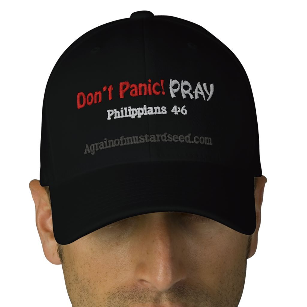 Don't Panic Pray! Agrainofmustardseed.com embroidered caps http://www.zazzle.com/agrainofmustardseed/gifts?useTermPositions=False&cg=196902059449174412