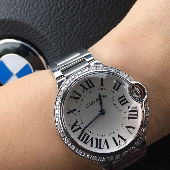 Sold 36mm Cartier Ballon Bleu Watch W Diamond With Images