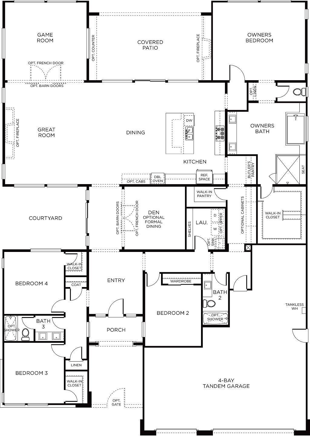 Plan 2 Pardee Homes Single Story House Floor Plans Garage Floor Plans New House Plans