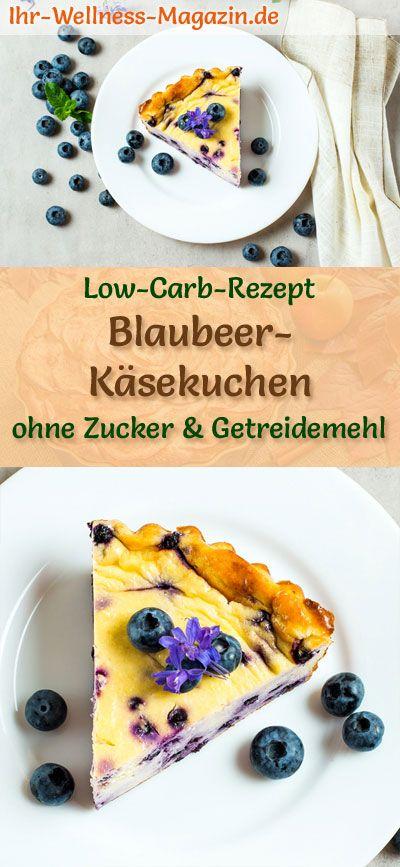 Low Carb Blaubeer-Käsekuchen ohne Boden - Frischkäse-Kuchen-Rezept ohne Zucker #lowcarbmeals