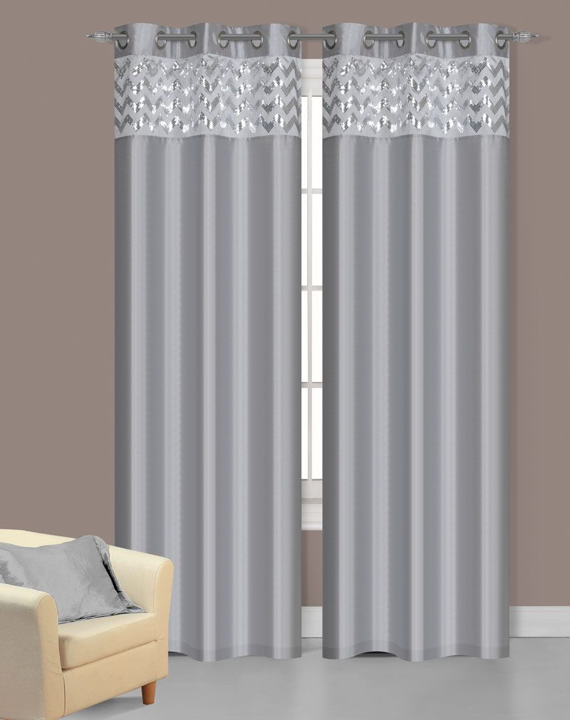 silver faux silk window curtain panels