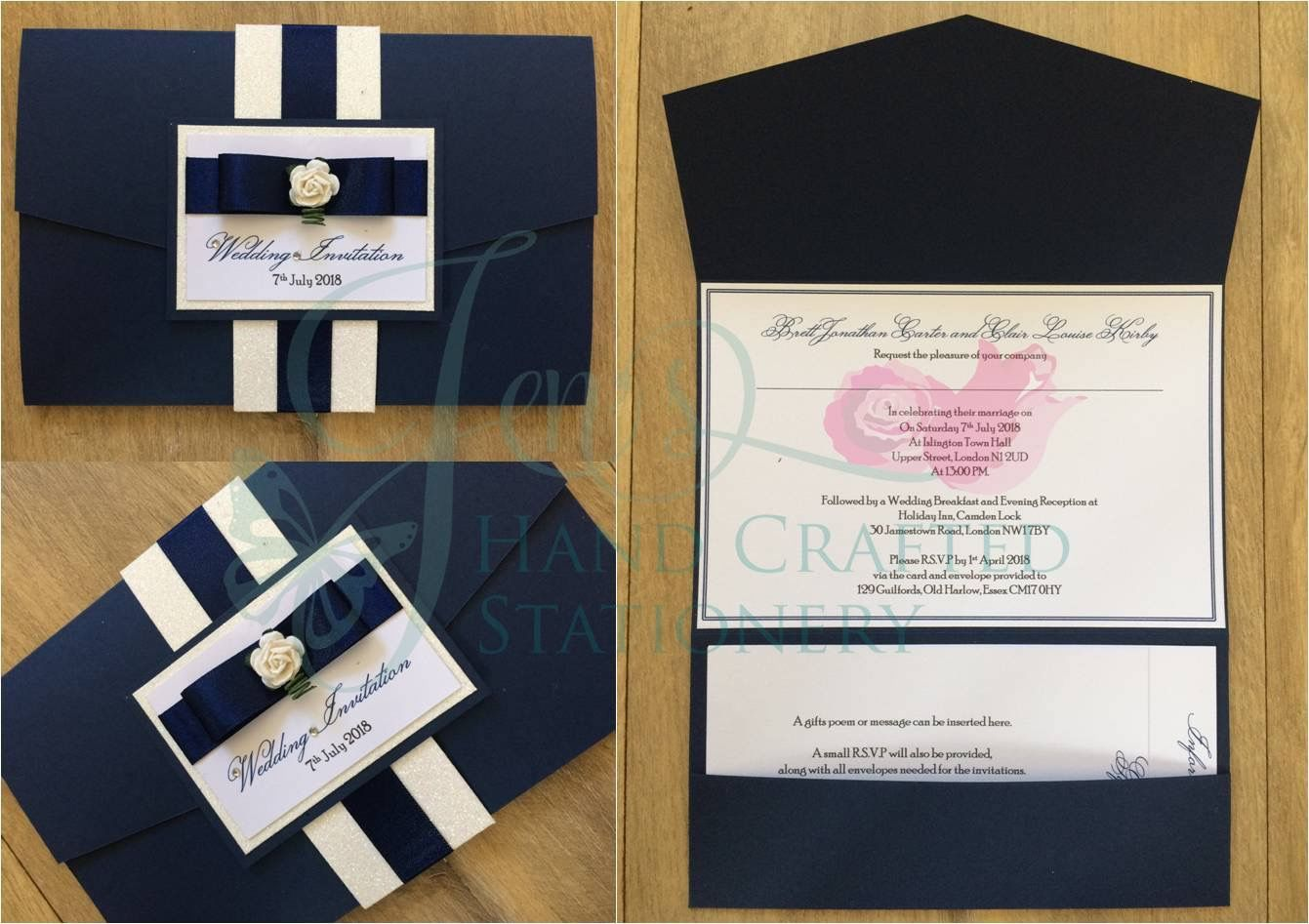 Belly Band Pocket Fold Invitation In Navy White Glitter Navy