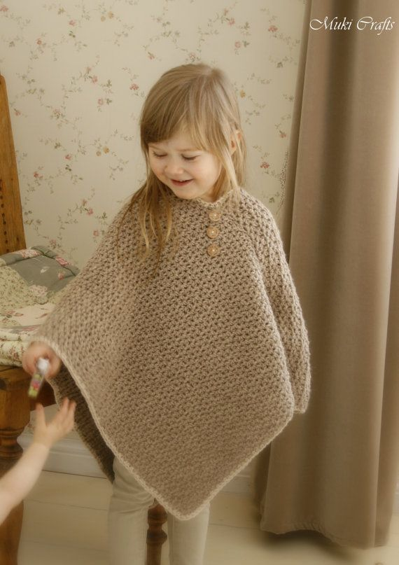 CROCHET PATTERN basic poncho Sam with V-neck and buttons