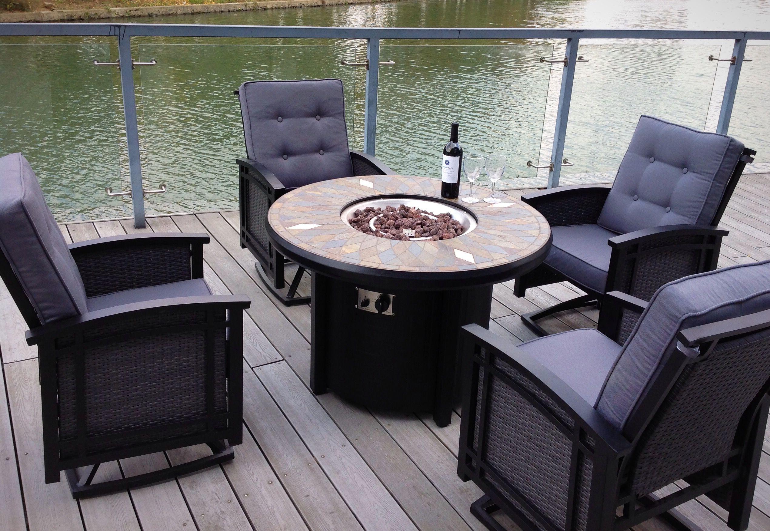 5pc aluminum wicker patio slate top fire pit swivel rocking deep