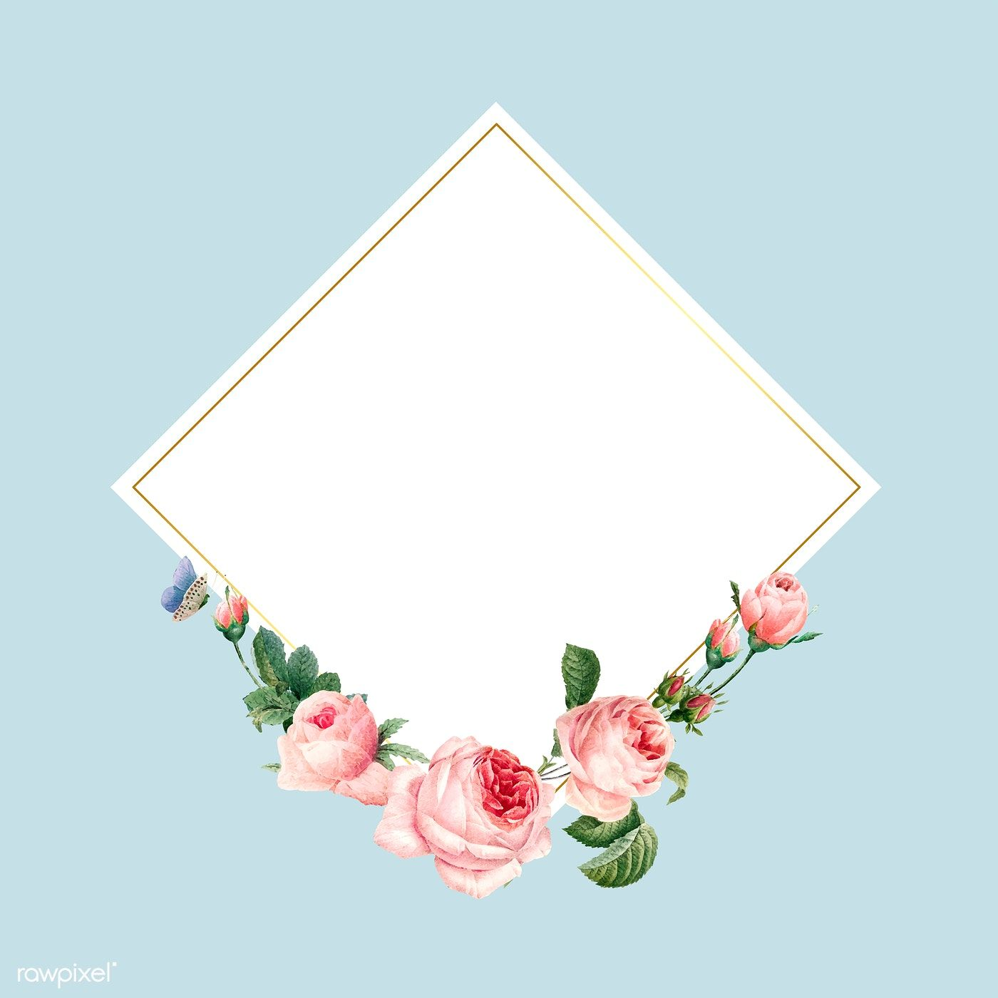Blank Square Pink Roses Frame On Blue Background Vector Free Image By Rawpixel Com Busbus Rose Frame Blue Background Wallpapers Pastel Blue Background