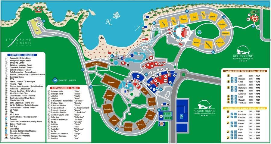 grand mayan cancun map Grand Sirenis Map Rivera Maya Playa Del Carmen Restaurantes grand mayan cancun map