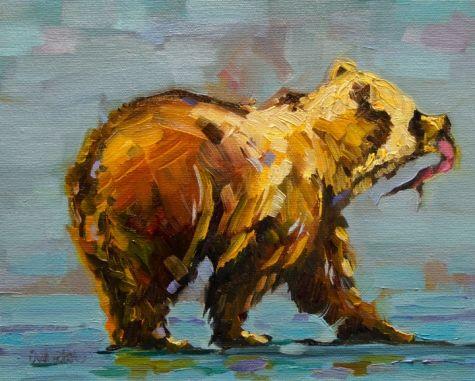 ARTOUTWEST DIANE WHITEHEAD FISHNG BEAR Wildlife Art -- Diane Whitehead