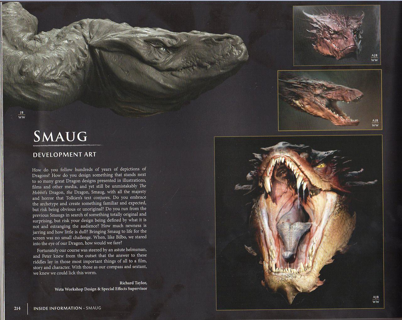 The Hobbit - Smaug design. #dragon #film #creature #concept #art #model #sculpt #monster #visual #effect #fantasy