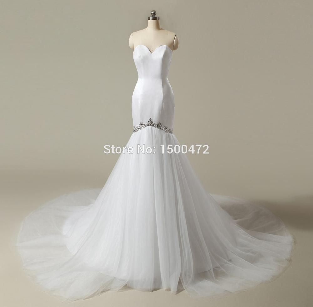 Simple white wedding dresses  Cheap Sweetheart Mermaid Wedding Dresses  Beaded Satin with