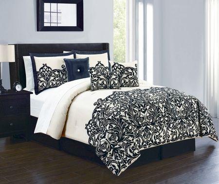 7 Piece Julianna Champagne Black Comforter Set Comforter Sets