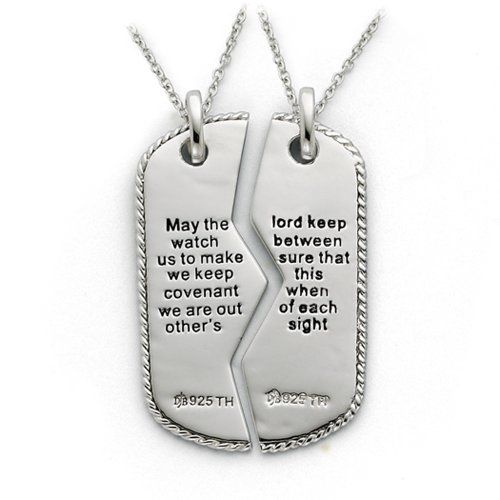 Military mizpah dog tag for two necklace in silver the black bow patriotic jewelry sterling silver military mizpah pendant for men or women aloadofball Image collections