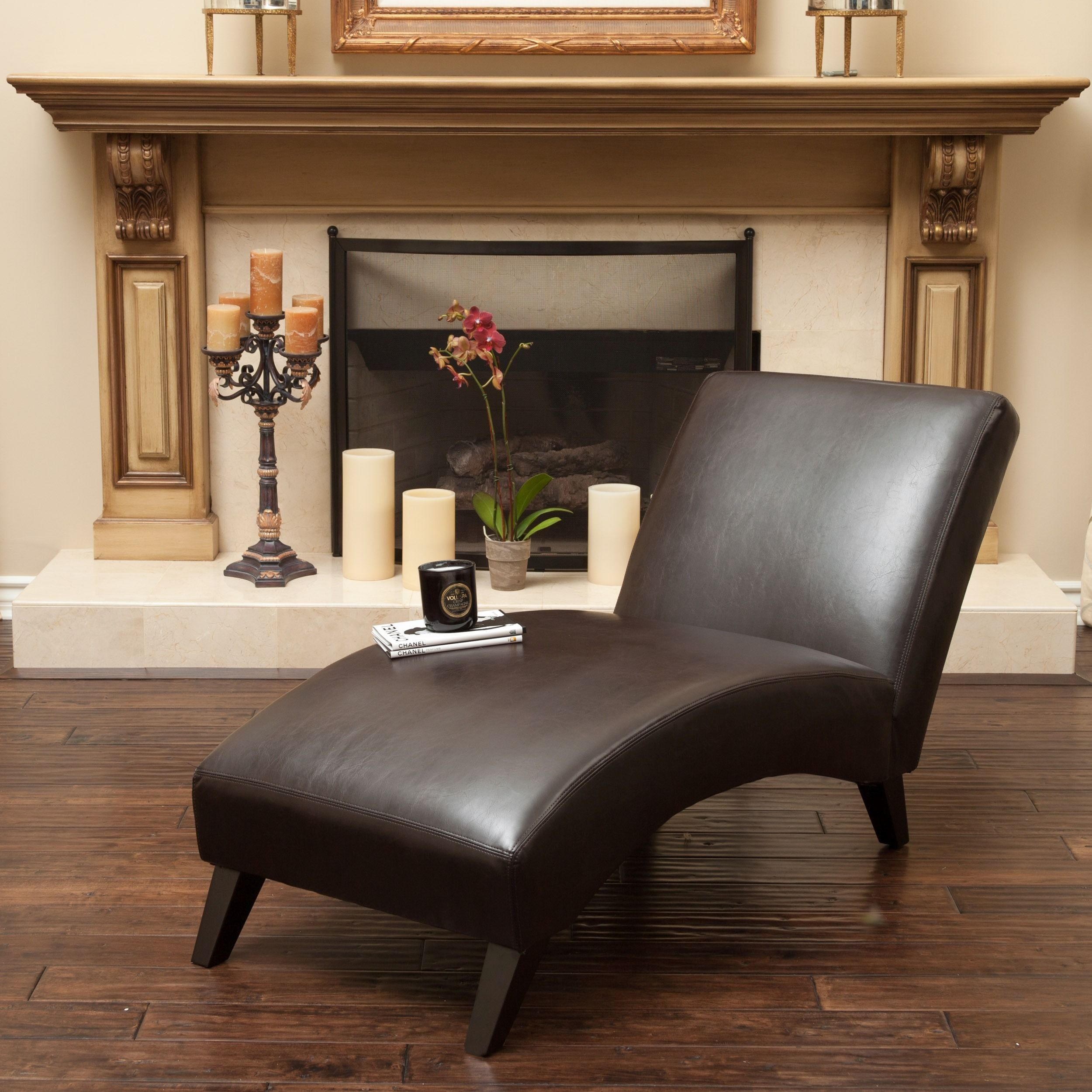 - Finlay Leather Chaise Lounge By Christopher Knight Home (With