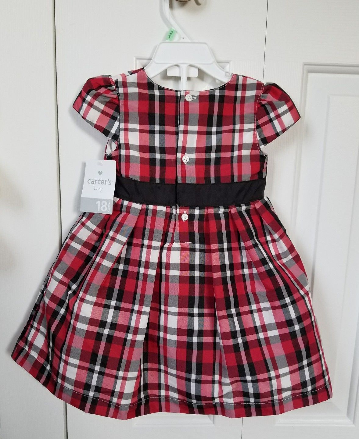 Carters baby girl plaid holiday christmas dress size months black