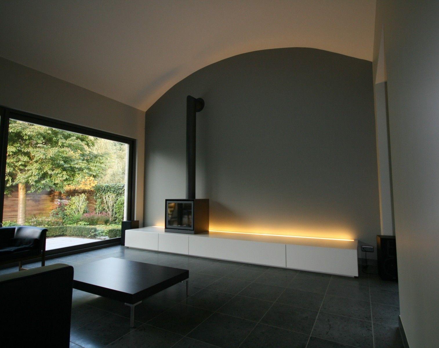 Realisaties van Woonkamer in Zwevend meubel met indirecte ...