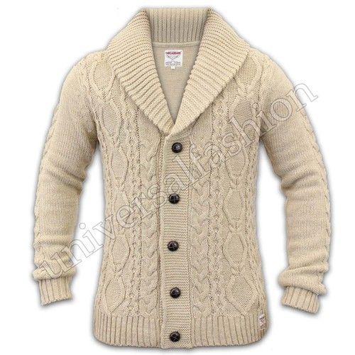 Mens Cardigan Cable Knit Chunky Threadbare Jacquard Shawl Neck ...