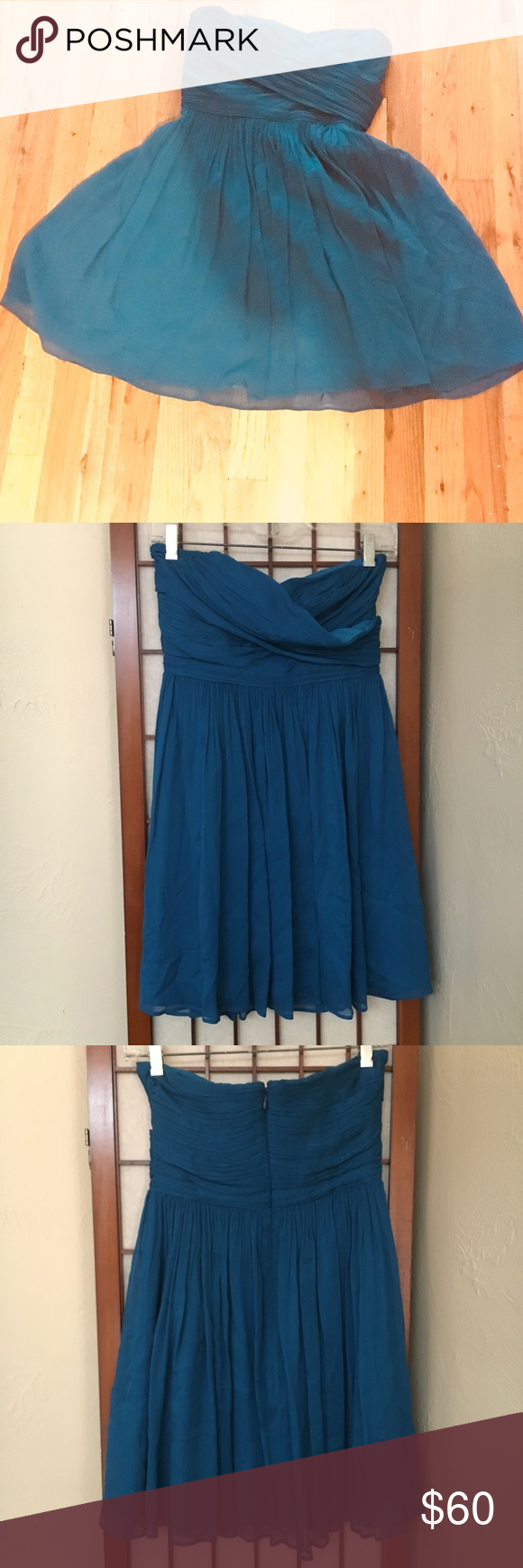 Jcrew blue silk strapless dress p prom my posh picks pinterest