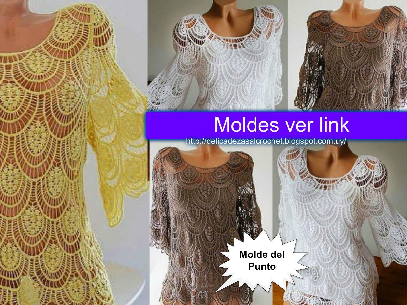 Delicadezas en crochet Gabriela: Hermosa blusa de encajes   todos ...