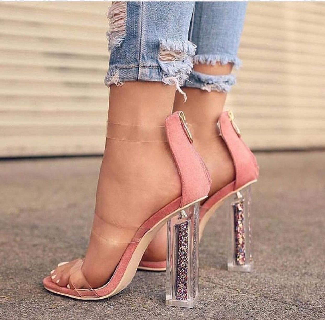 FASHION DOLL SHOES FOR SMALL FEET-PINK ANKLE STRAP  OPEN TOE HIGH HEELS