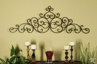 Offer 48 Tuscan Wrought Iron Scroll Wall Grille Header Swag