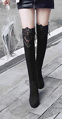 Spitzen Overknee Stiefel Fashion Frauen Herbst Schuhe Sexy Lace