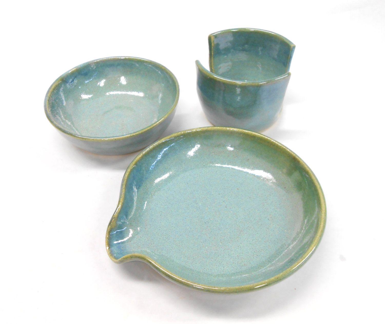 Salt Bowl, Pottery Spoon Rest, Sponge Holder, Kitchen Set, Pinch Pot ...