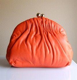 Vintage Tangerine Ruched Bag