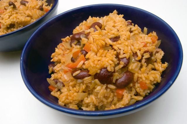 Yellow Rice And Pink Beans A Caribbean Staple Recipe Slow Cooker Red Beans Rice And Pink Beans Recipe Pink Bean Recipe