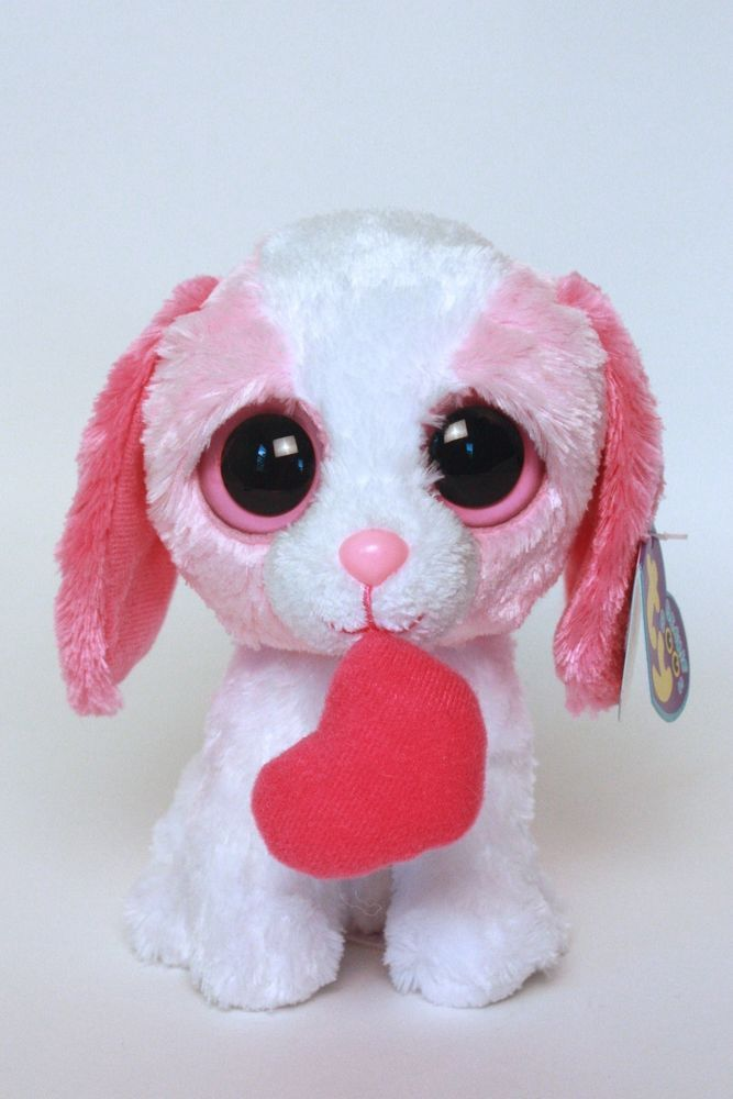 df130f109bd Ty Beanie Boos - Cookie Pink and White Dog with Heart - 5 1 2