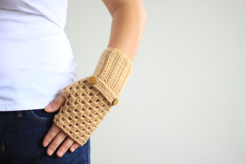 Women Fingerless Gloves in light brown, Crochet fingerless gloves, Fingerless mittens, crochet mittens, wrist warmer. $23.00, via Etsy.