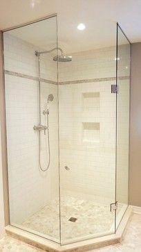Corner Shower With Frameless Glass Enclosure Neutrals White