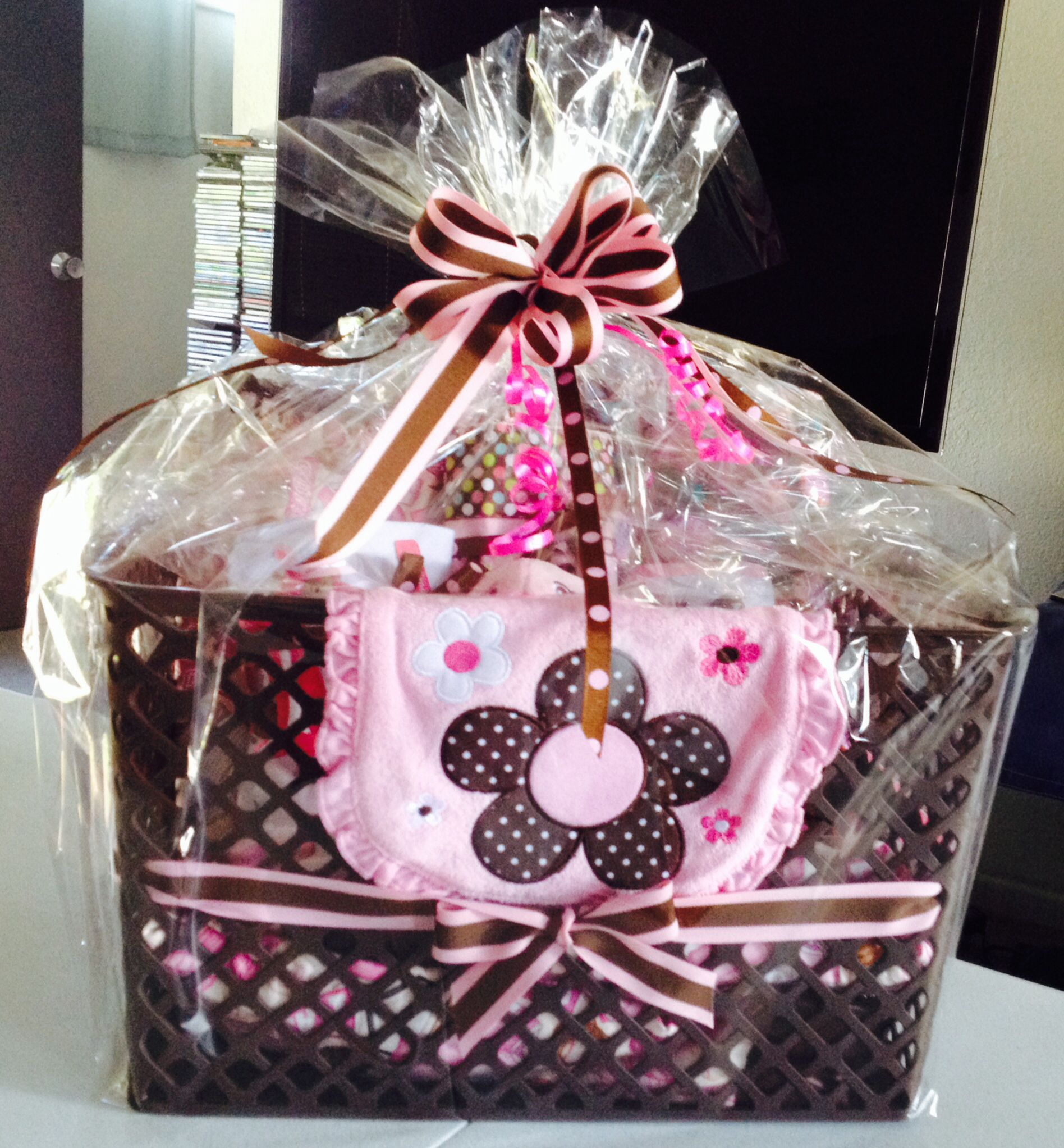 Pink and brown theme basket containing baby quilt, 2 blankets, 4 ...