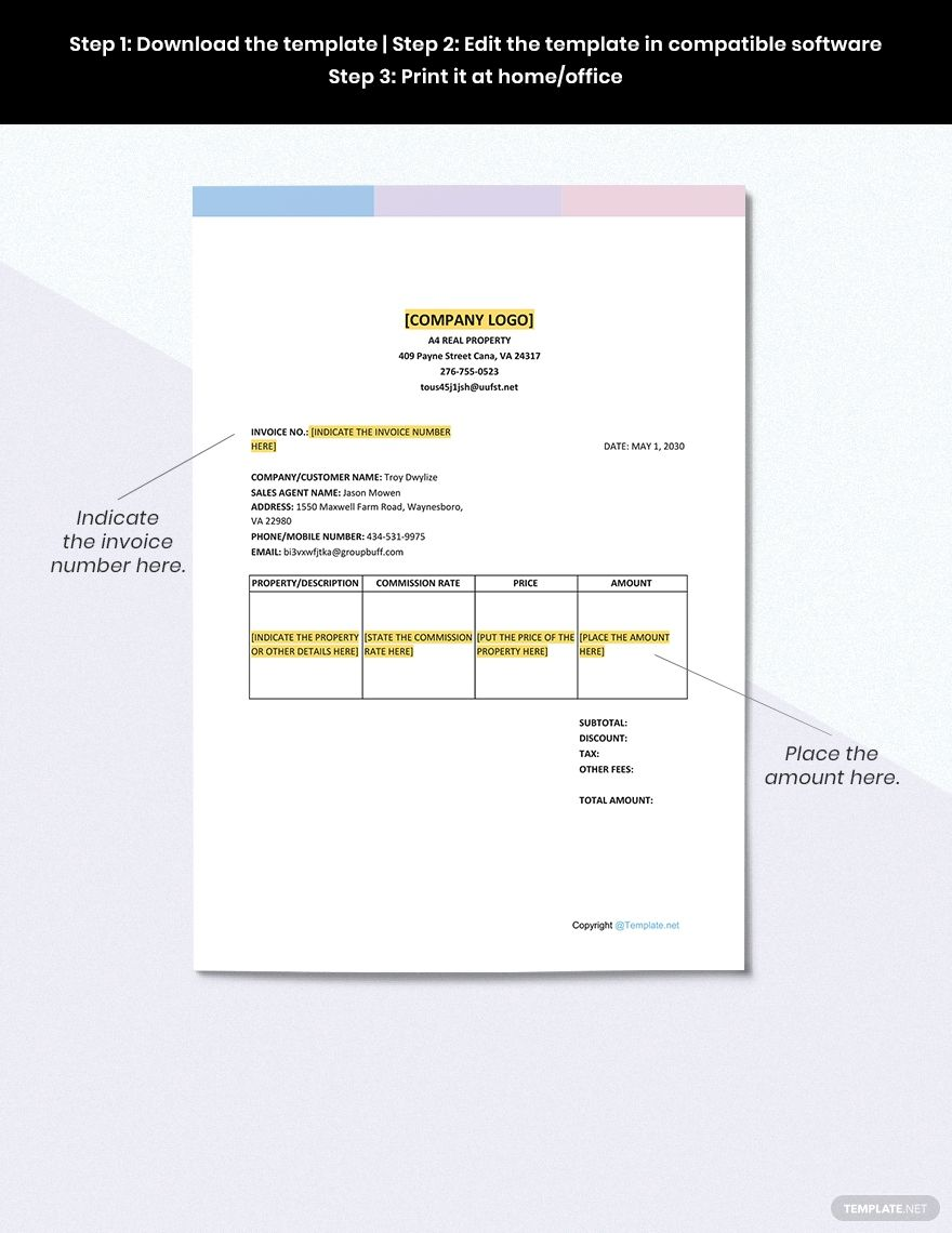 Simple Real Estate Invoice Template Free Pdf Google Docs Google Sheets Excel Word Template Net Invoice Template Document Templates Templates