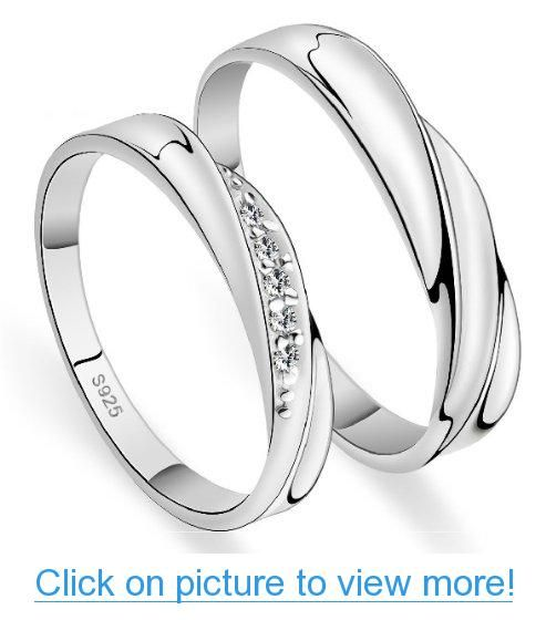 18k White Gold Plated Twist Design Couple Style Band Ring Men S Or Women S Crystal Engagement Rings Promise Rings For Couples Wedding Rings Simple