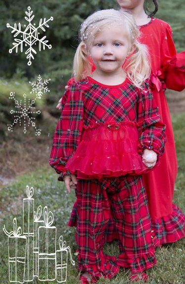 12e9847468 Girls Fancy Christmas Pajamas Pre-order Red Plaid by Laura Dare Matching Brother  PJs also Available!