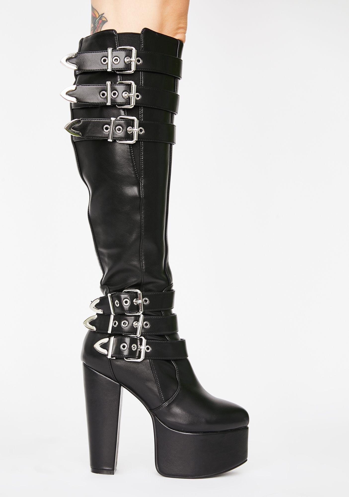 Lamoda Set Back Platform Boots Black 5