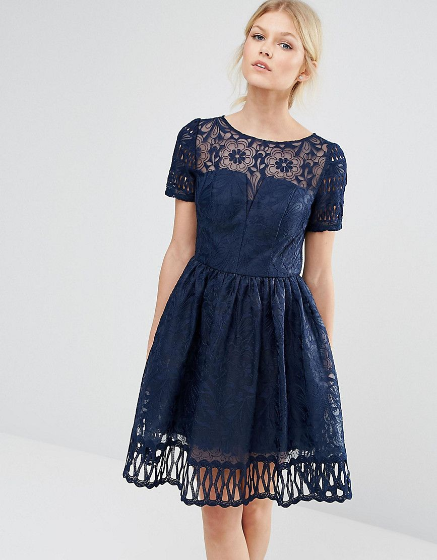 a4fb2ca8cd9 Chi Chi London Petite Premium Lace Dress Cutwork Detail And Cap Sleeve