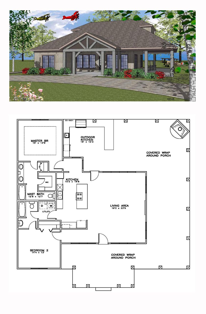 Southern Style House Plan 59391 With 2 Bed 2 Bath Coastal House Plans Dream House Plans Cottage Plan